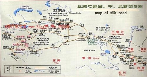 手绘丝绸之路线路图